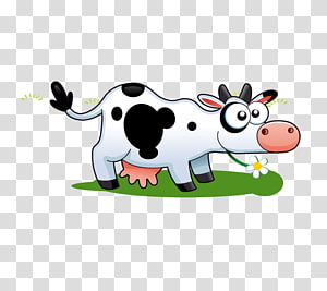 white and black cow illustration, Dairy cattle Live, Dairy cow PNG