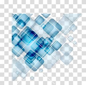 blue , Square, Digital Technology blue geometric squares gradient PNG