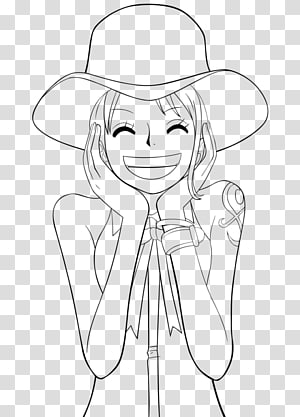 Nami Monkey D. Luffy Nico Robin Roronoa Zoro Line art, one piece PNG clipart