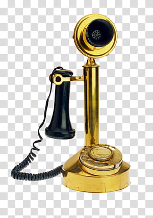 Telephone Antique, Vintage gold phone PNG clipart