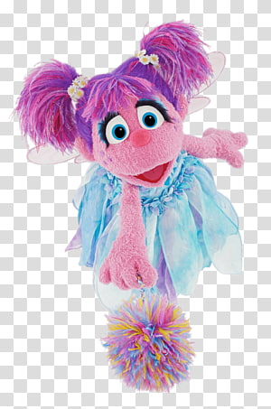 pink plush toy wearing teal tutu dress, Sesame Street Abby Ladabby Pompon PNG