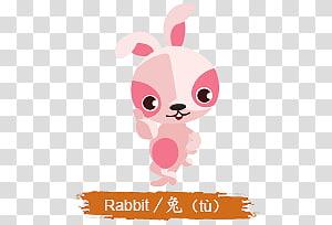 rabbit illustration, Chinese Horoscope Kids Rabbit Sign PNG