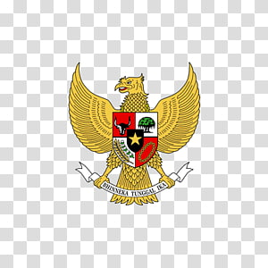 gold and multicolored logo sticker, National emblem of Indonesia Pancasila Indonesian Garuda, garuda pancasila PNG clipart