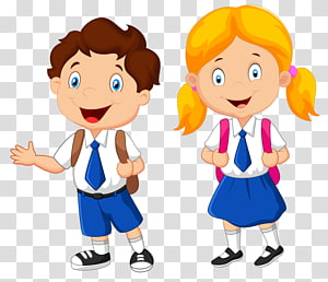 boy and girl illustration, School uniform Student , student PNG clipart