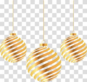 3 brown Christmas baubles illustration, Christmas Gold, Christmas New Year golden ball PNG