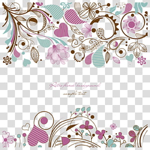 assorted-color flowers graphic design frame, Flower Drawing, Hand painted pattern PNG