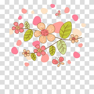 pink flowers and green leaves illustration, Simple hand-painted flowers cartoon butterfly background PNG clipart