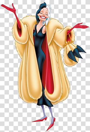 Cruella de Vil The Hundred and One Dalmatians Villain Cattivi Disney Antagonist, happy feet PNG