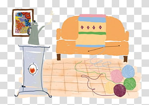 Living room Furniture Illustration, Wool and sofas PNG