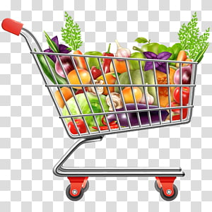Shopping cart, vegetables PNG clipart