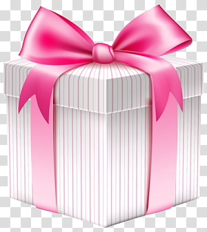 pink and white striped gift box illustration, Christmas gift Box , White Striped Gift Box PNG clipart