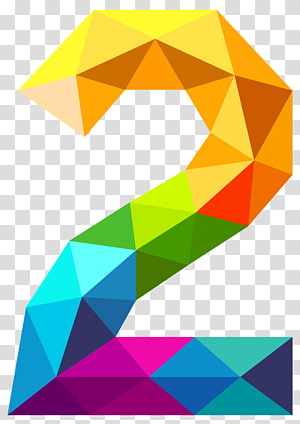 Triangular number Triangle , Colourful Triangles Number Two , yellow, orange, green, and purple 2 illustration PNG