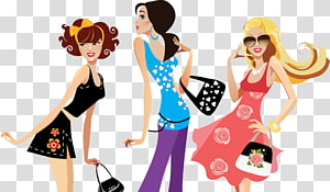 Fashion accessory, Cartoon fashionable women PNG clipart
