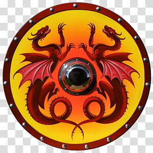 Round shield Vikings Dragon Buckler, shield PNG clipart