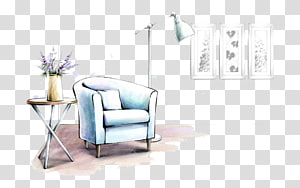 tub chair illustration, Furniture Interior Design Services Living room Drawing, Hand-painted sofa lamp PNG
