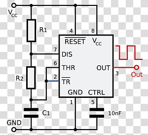 555 timer IC Electronic circuit Astable multivibrator Integrated Circuits & Chips, 555 PNG clipart