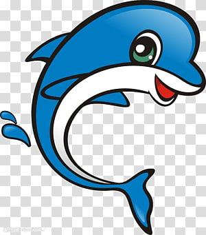 Cartoon Dolphin Motif, Blue dolphin PNG clipart