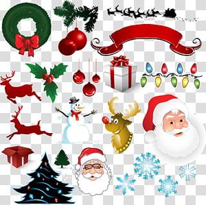 Santa Claus Christmas decoration New Year, Santa Claus and gifts PNG