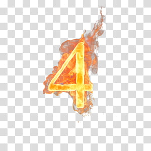 burning 4 , Numerical digit Number Fire, Number 4 PNG