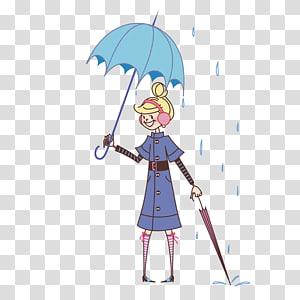 South Korea Cartoon Rain Illustration, Girl holding an umbrella PNG clipart