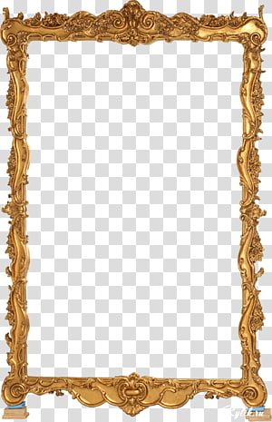 rectangular brown ornate illustration, frame Mirror , Gold Frame PNG clipart
