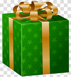 Gift Wrapping Decorative box , Green Present s PNG clipart