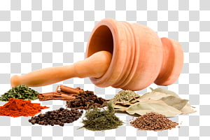 various spices and garlic mortar PNG clipart